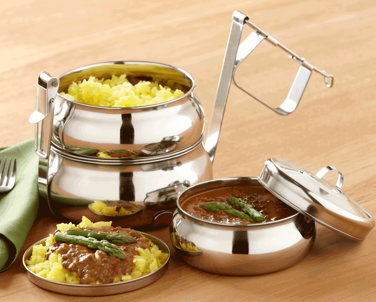 Large 4-Tier Stainless Steel Pyramid Tiffin