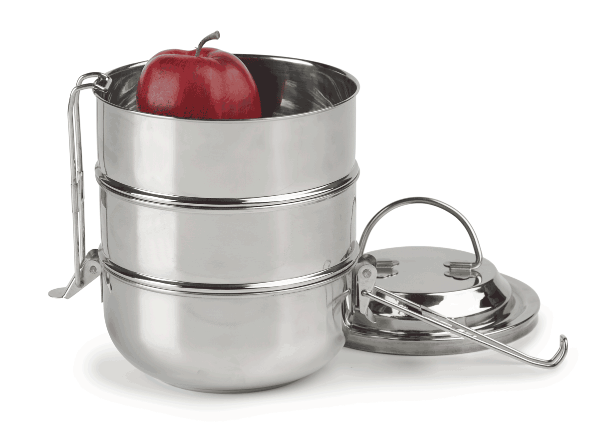 Lunch Boxes 3-Tier Tiffin, Raja Domed Stainless Steel ...