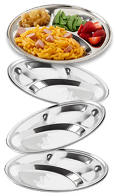 No-Mess Plates, 4-Pack, Stainless Steel Plates